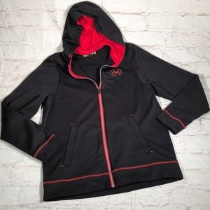Under Armour full zip hoodie. Medium.  Black/red